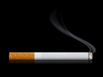 Smoking Cigarette. A lit cigarette smoking on a black background Stock Image