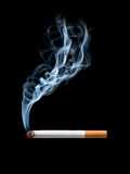 Smoking cigarette. Closeup of cigarette on ashtray with wisp of smoke. Isolated Royalty Free Stock Photography
