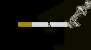 Smoking cigarette with death sign Royalty Free Stock Images