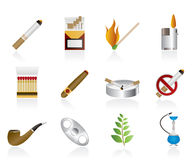 Smoking and cigarette icons Royalty Free Stock Photo