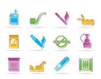 Smoking and cigarette icons Royalty Free Stock Photos