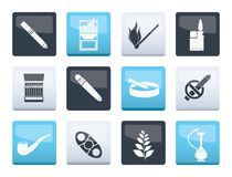 Smoking and cigarette icons over color background. Vector icon set vector illustration