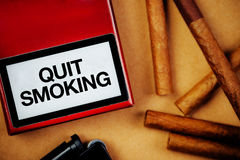 Smoking cigarettes addiction and health issue concept, flat lay Stock Image