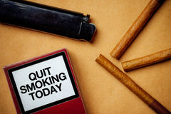 Smoking cigarettes addiction and health issue concept, flat lay Royalty Free Stock Image