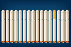 Smoking cigarettes alot. Illustration of a lot of cigarettes with one different type Stock Photography