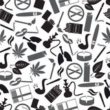 Smoking and cigarettes simple black icons pattern Royalty Free Stock Photo