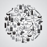 Smoking and cigarettes simple icons in circle Royalty Free Stock Images