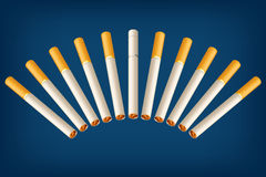 Smoking cigarettes wrong3. Illustration of a group of cigarettes with different filter on blue background Royalty Free Stock Photo