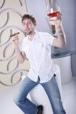 Smoking cognac Royalty Free Stock Photography