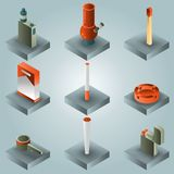 Smoking color gradient isometric set. Vector illustration, EPS 10 stock illustration