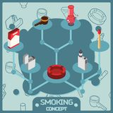 Smoking color isometric concept icons Royalty Free Stock Image