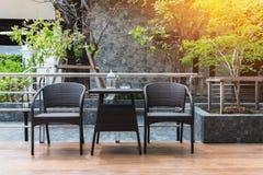 Smoking corner of black furniture set Royalty Free Stock Images