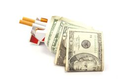 Smoking Costs. Healthcare and Health insurance cost concept. Cigarettes with money Stock Photo