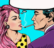 Smoking couple in Pop Art style.Love couple.Pop Art Couple. Royalty Free Stock Photography