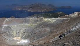 Smoking crater of Vulcano , Aeolian islands , Italy Royalty Free Stock Photo