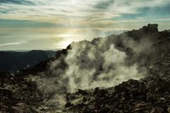 Smoking crater of El Teide (Tenerife). The smoking crater of volcano El Teide on the island of Tenerife Stock Photo