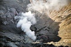 Smoking creater volcano Royalty Free Stock Image