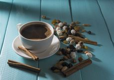 Smoking cup of coffee stock image