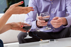 Smoking on a date Stock Image