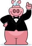 Smoking de porc de bande dessinée illustration stock