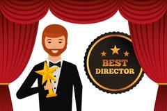 Smoking de port d'acteur tenant la récompense d'étoile d'or illustration libre de droits
