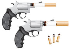 Smoking is death. Revolver with a cigarette barrel isolated on white Stock Photos