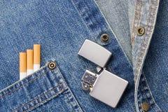 Smoking and Denim Royalty Free Stock Photo