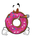 Smoking doughnut cartoon Stock Image