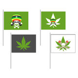 Smoking drugs flag. Rasta Hat skull. Cannabis leaf. Vector illus Royalty Free Stock Photo