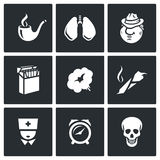 Smoking and effects on the body icons set. Vector Illustration. Stock Photos