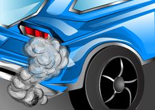 Smoking exhaust. Blue car with  pipe Stock Photo