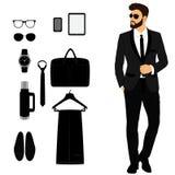 Smoking för man` s Tillbehör för man` s Uppsättning för bröllopman` s gentleman vektor illustrationer