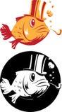 Smoking fish in top-hat Stock Image