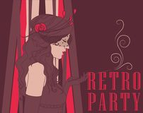 Smoking woman in retro style on Chicago party poster. Smoking flapper woman with beautiful curly hair on poster for retro party, vector illustration Royalty Free Stock Photo