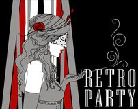Smoking woman in retro style on Chicago party poster. Smoking flapper woman with beautiful curly hair on poster for retro party, vector illustration Royalty Free Stock Image