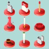 Smoking flat isometric set stock illustration