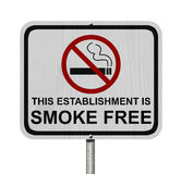 Smoking Free Establishment Sign. An red road sign with cigarette icon and not symbol with text isolated on white royalty free stock photos