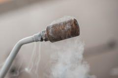 Smoking frozen pipe for liquid nitrogen Stock Image