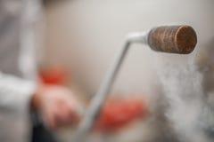 Smoking frozen pipe for liquid nitrogen Royalty Free Stock Image