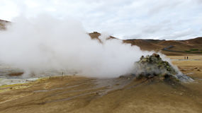 Smoking Fumarole. Geo-thermal landscape in Krafla Royalty Free Stock Image
