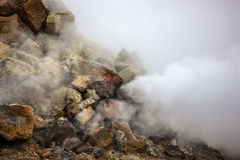Smoking fumarole in Iceland Royalty Free Stock Images