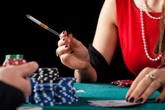 Smoking gambler closeup Stock Photography