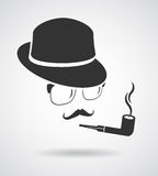 Smoking gentleman. Vintage design elements set like icon Royalty Free Stock Images
