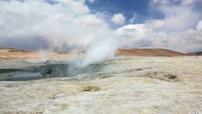 Smoking geyser in Bolivia. Field Sol de Manana with smoking geyser in Bolivia stock video footage