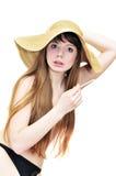 Smoking girl in straw hat Royalty Free Stock Photos