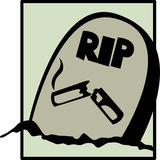 Smoking grave vector illustration. Vector illustration of a grave with a broken cigar carved in the tombstone Royalty Free Stock Images