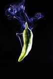 Smoking green pepper Royalty Free Stock Photo
