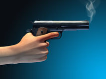Smoking gun. Held by a male hand. Digital illustration, clipping path included vector illustration