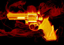 Smoking gun. Blazing red smoking hand gun Stock Photos