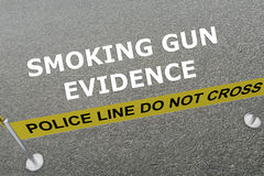Smoking Gun Evidence concept. Render illustration of SMOKING GUN EVIDENCE script on the ground in a police arena. Police Arena concept Royalty Free Stock Photography